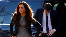Footballer Adam Johnson and girlfriend Stacey Flounders, arrive at Bradford crown court, Thursday 25 February