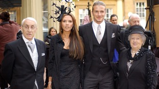 David Beckham with his wife and grandparents in 2003.