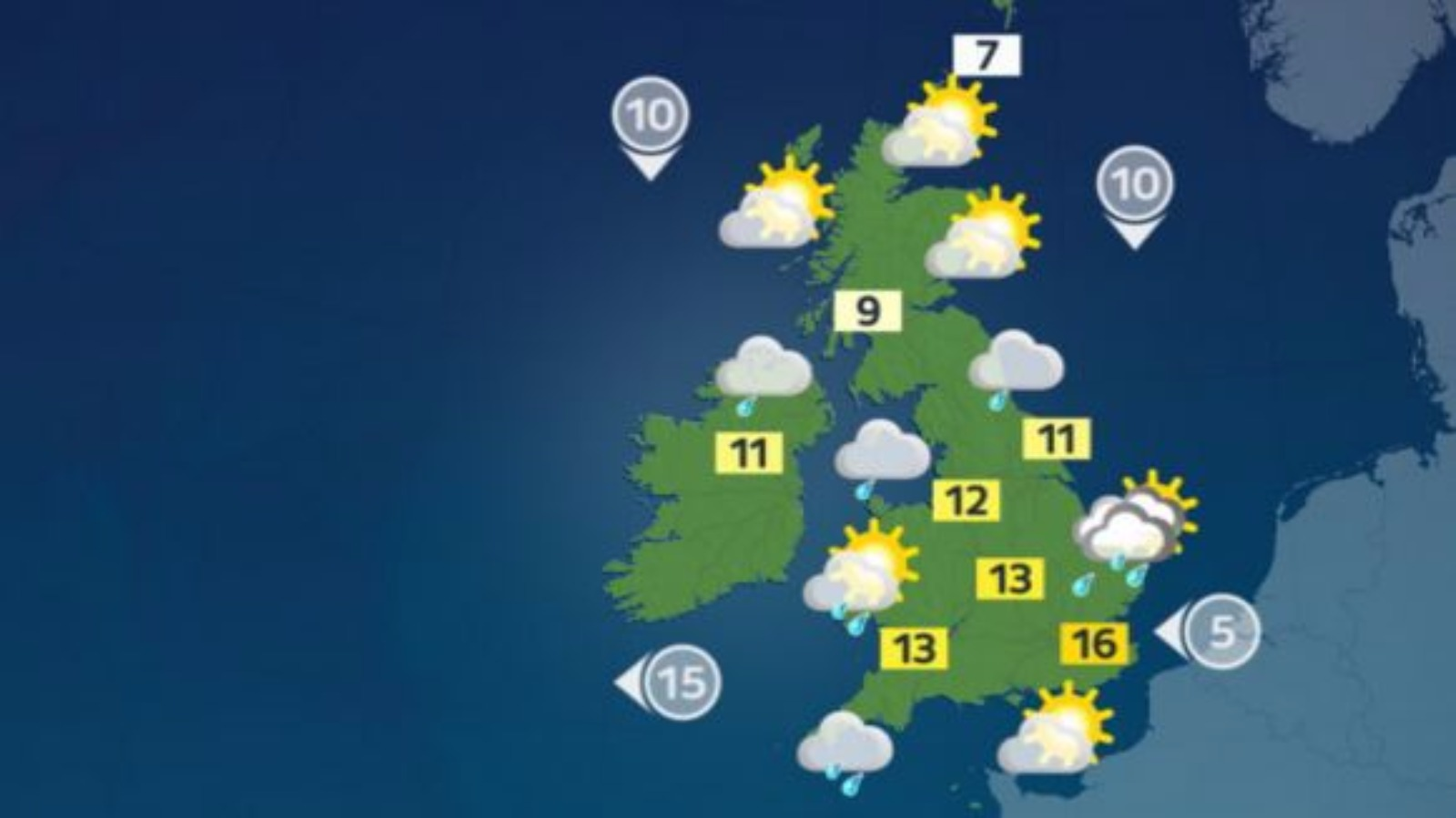 weather forecast  sunny spells but with risk of heavy showers