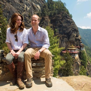 The Duke and Duchess of Cambridge during their hike to the Tiger's Nest Monastery, near Paro, Bhutan