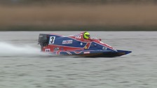 World HR.850 speed record holder Brian Block on the water at Oulton Broad, Suffolk