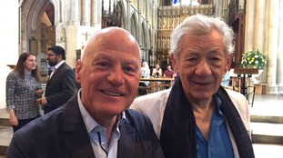 Sir Ian McKellen (right) and Michael Cashman in the cathedral