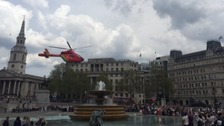 The air ambulance landed in the middle of Trafalgar Square