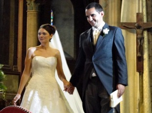 Richard Osman and Aurelie on their wedding day